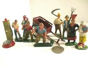 12 Vintage Hard To Find French Lead Toy Farm Figures W/well Pump And Cart.