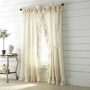 Vhc Muslin Unbleached Natural Ruffled Country Farmhouse Cottage Window Panels