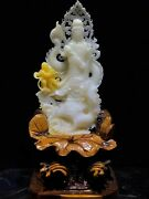 16 Inch Natural Giant Clam Tridacna Jade Handcarved Wealth Dragon Boy Guanyin