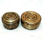 Lot Of Two Old 1920s Antique Beautiful Handmade Small Brass Lunch / Tiffin Boxes
