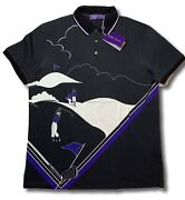 495 Purple Label Golf Cotton Polo Shirt Size Medium Made In Italy