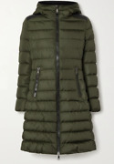 Moncler Talev Hooded Faux Leather-trimmed Quilted Jacket In Army Green | Size 1