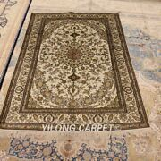 Yilong 4and039x6and039 Hand Knotted Silk Carpet Living Room Home Furniture Area Rug 471b