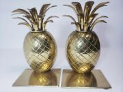 Vintage 1970 Pineapple Bookends From Ethan Allen 5.5ʺw × 8.5ʺh Brass