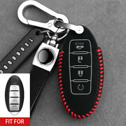 For Nissan Altima Maxima Keychain Black Leather Car Remote Key Fob Cover Case