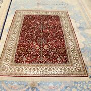 Yilong 4and039x6and039 Red Handknotted Silk Area Rug Eco Friendly Oriental Carpet 197a