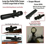 Wide Angle 3-9x42 Long Eye Relief W Mosin Nagant M44 M91/30 M38 Top Scope Mount