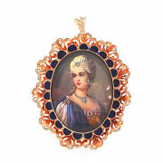 Signed Carletto 18k Gold And Diamond Portrait Italy Pendant Brooch Fine Jewelry