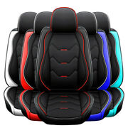 5 Seat Universal Car Seat Cover Deluxe Leather Full Set Cushion Protector Black