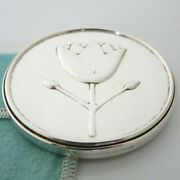 And Co. Sterling Silver Flower Daisy Purse Compact Hand Mirror And Pouch Box