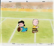 1960's Bill Melendez Peanuts Charlie Brown And Lucy Football Production Cel