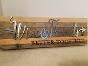 Sweet Bird And Co. 24 Inch Wood And Metal Wine Theme Wall Art Sign Farmhouse Decor