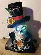 Day Of The Dead Sugar Skull With Color Changing Led Light Eyes Halloween Decor