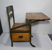Vintage Antique Industrial Child Student School Desk And Chair Wood Metal Drawer