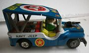A Scarce Vintage 1950and039s Tin Friction Navy Jeep Toy Produced By Yonezawa Japan