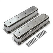 Chevy Sbc 350 Center Bolt Polished Aluminum Plain Valve Cover - Tall W/o Hole