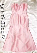 Blossom Pink Strapless Satin Alfred Sung Diamond Back Gown Sz 12 New 298.00