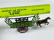 Antique Cast Diecast Made In France French Horse Hay Cart Toy Car Truck Wow
