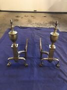 Antique Andirons Solid Brass And Cast Iron 1930's