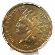 1872 Indian Cent 1c - Pcgs Au Details - Rare Early Date Certified Penny