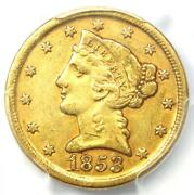 1853-d Liberty Gold Half Eagle 5 - Certified Pcgs Xf Details - Dahlonega Coin
