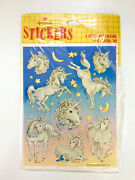 Super Rare Vintage 1982 Hallmark Unicorn Stickers - 3 Sheets In Its Packaging
