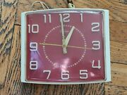 Vintage Late 1940and039s - 1950 Ge Telechron Kitchen Wall Clock 2ha41