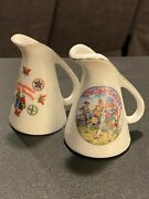 Pair Of Miniature Souvenir Porcelain Pitchers Pa Dutch Country And Spirit Of '76