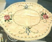 Antique Arts And Crafts Embroidered Oval Table Linen Hand Crocheted Edging
