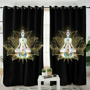Black Gold Lotus Chakra Floral Zen Window Living Room Bedroom Curtains Drapes