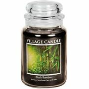 Village Candle Black Bamboo Large Glass Apothecary Jar Scented Candle 21.25 Oz