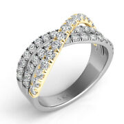 1.03ct Diamond 14kt White And Yellow Gold 3d Classic 3 Row Criss Cross X Love Ring