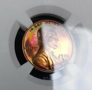 1970 S Lincoln Cent Large Date Pr66 Rb Crazy Nice Rainbow Toning