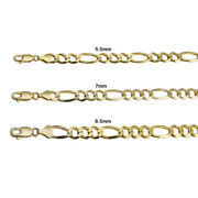 14k Yellow Gold Solid Figaro Link Chain 5.5mm-8.5mm Menand039s Women Necklace 20-30