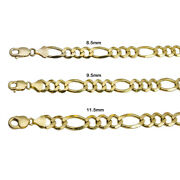 14k Yellow Gold Solid Figaro Link Chain 8.5mm-11.5mm Menand039s Women Necklace 20-30