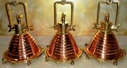 Hanging Cargo Pendant Spot Light Vintage Style Nautical Brass And Copper 3 Piece