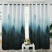 Watercolour Nature Forest Trees Fog Window Living Room Bedroom Curtains Drapes