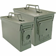.50 Cal And .30 Cal Ammo Can Military Quality Ammunition Bullet Storage Box Green