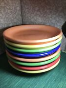Pottery Barn Salad Plates Set Of 8 Solid Bright Colorful Serve
