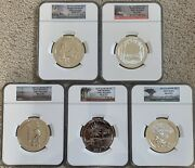 2013 5oz Silver Atb National Park Ngc Ms69 Dpl Early Releases - 5 Coil Set