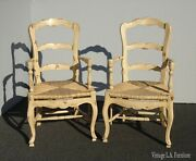 Pair Vintage French Country Off White Ladderback Rush Arm Chairs Farmhouse Chic