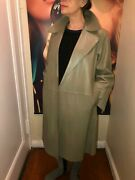 Bally Women Leather Coat New Grey Size Us8 Made In Italy 2590