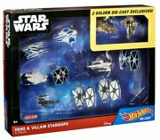 Star Wars Hot Wheels Hero And Villain Starships 11-pack Toy Set W/ 2 Golden Excl