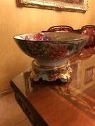 Large Limoges France Hand Painted Punch Bowl Stand Set