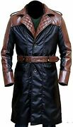 Men Duster Assassins Creed Syndicate Brown Quilted Style Real Leather Long Coat