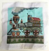Vintage Peter Ashe Signed Hand Painted Needlepoint Canvas Steam Train Engine