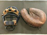 Vintage Antique Metal Leather Baseball Catchers Mask And Catchers Mitt Glove