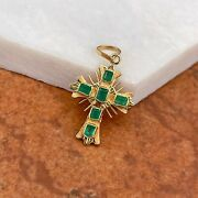 Estate Vintage 18kt Yellow Gold Emerald Ornate Detailed Cross Pendant 25mm Small