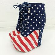 Jeffrey Campbell 'damsel' Hidden Wedge Lace Up Bootie In American Flag Usa - 6.5