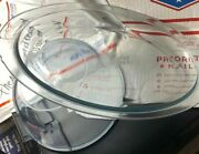 Vtg Pyrex Usa Blue Clear Glass Stove Ware Bowl B-t 833 B And Broiler Plate A-a 812